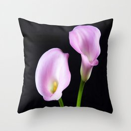 Dance Of Two Pink Calla Lilies Throw Pillow