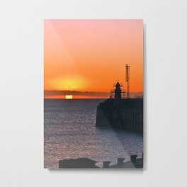 Pier Sunrise with Lighthouse Metal Print
