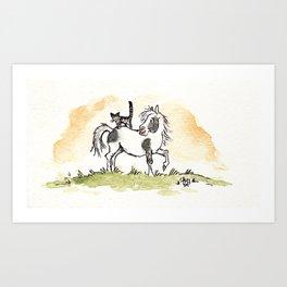 Pony&cat Art Print