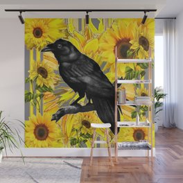 BLACK CROW/RAVEN & SUNFLOWERS FIELD Wall Mural