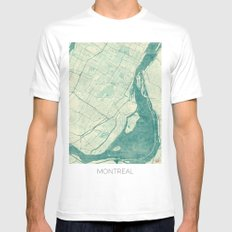 Montreal Map Blue Vintage White Mens Fitted Tee MEDIUM