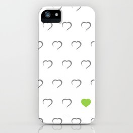 Hearts - Green iPhone Case
