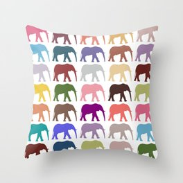 Colorful Elephants - Pink Purple Green Blue Throw Pillow