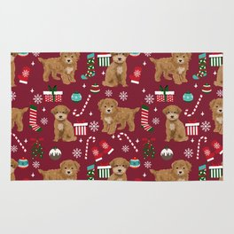 Bichpoo christmas dog breed holidays pet gifts pet friendly stockings candy canes snowflakes Rug