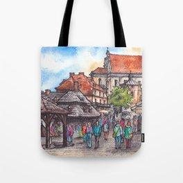 Town view ink & watercolor illustration Kazimierz Dolny Poland Tote Bag
