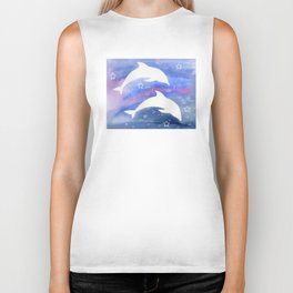 Dolphin Silhouette with watercolor background Biker Tank