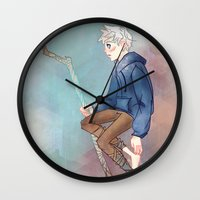 jack frost Wall Clocks featuring Jack Frost by Rosita Maria