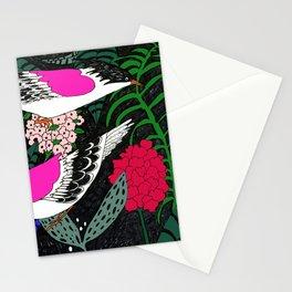 Sgraffito Birds - Bright Fuchsia Botanical Birds and Flowers Stationery Cards