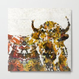 Modern Yellow Buffalo Art by Sharon Cummings Metal Print