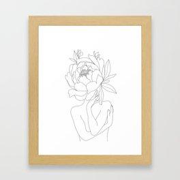Minimal Line Art Woman Flower Head Framed Art Print