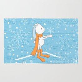 Bunny and Snowflakes Rug