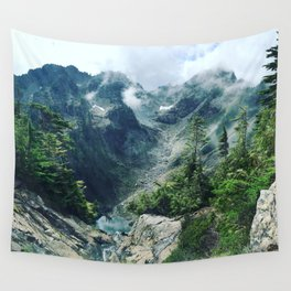 Mountain through the clouds Wall Tapestry
