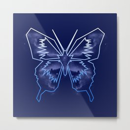 Galactica Blue Butterfly Metal Print
