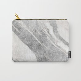 Marble - Silver Glitter on White Metallic Marble Pattern Carry-All Pouch
