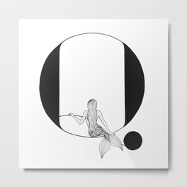 Mermaid Alphabet Series - Q Metal Print