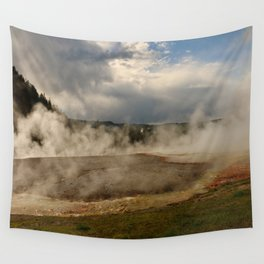 A Cloud Of Steam And Water Over A Geyser Wall Tapestry