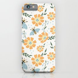 Honey Bees and Orange Flowers iPhone Case