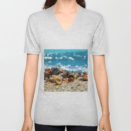 Wave Series Photograph No. 10 - Seashells and Waves Unisex V-Neck