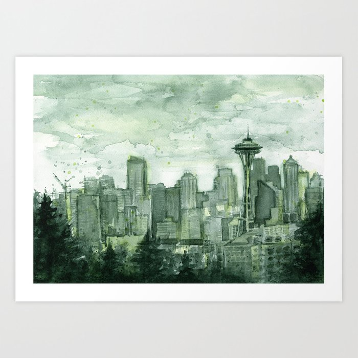 Seattle Skyline Watercolor Space Needle Emerald City 12th Man Art Art Print