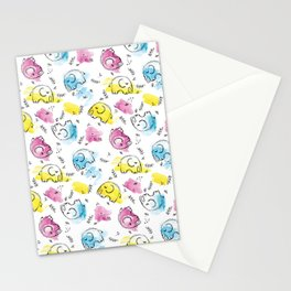 Sweet Elephants | Inkies Watercolor & Ink Pattern Collection by Kate Amedeo Stationery Cards