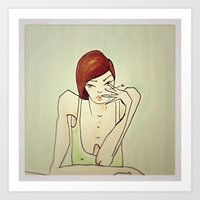 cigarette Art Prints featuring Cigarette by amaiaacilu