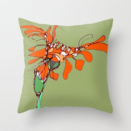 Autumn Olive Gerbera Throw Pillow