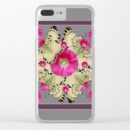 CHARCOAL GREY PINK FLOWERS YELLOW BUTTERFLIES Clear iPhone Case