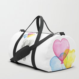 Elephant Watercolor with Balloons Rainbow Hearts Baby Animal Nursery Prints Duffle Bag