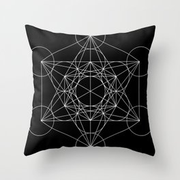 Metatron's Cube Black & White Throw Pillow