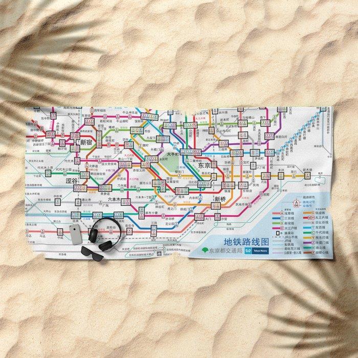 Tokyo Subway Map Beach Towel