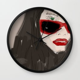 Woman closeup portrait in eyewear, fashion glasses Wall Clock