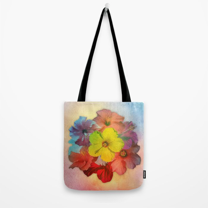 Colorful Hibiscus Bouquet Tote Bag