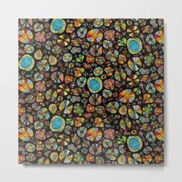 Barca Dots Pattern multicolor/black Metal Print