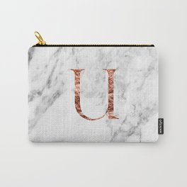 Monogram rose gold marble U Carry-All Pouch