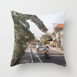 Tropical Road On Bali Island Art Print   Summer Holiday Photo   Digital Indonesia Travel Photography Throw Pillow