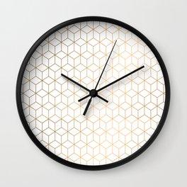Gold Geometric Pattern on White Background Wall Clock