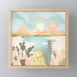 Retro Desert Oasis Framed Mini Art Print