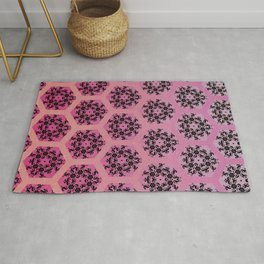 Black and Pinks Honeycomb Illusion Graphic Design Pattern Rug