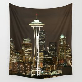 Seattle Space Needle at Night - City Lights Wall Tapestry