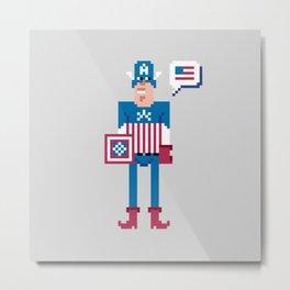 Pixel Captain Am Erica Metal Print