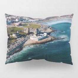 Narragansett Towers, Coast Guard House, Seawall, & Beach; Narragansett, Rhode Island Aerial View Pillow Sham