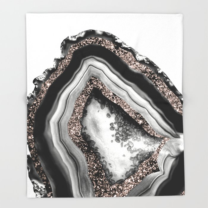 Agate Rose Gold Glitter Glam #4 #gem #decor #art #society6 Throw Blanket