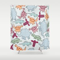 dinosaurs Shower Curtains featuring Dinosaurs  by MadexDesigns