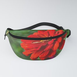 Red Zinnia Flower Fanny Pack