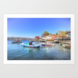 Boats on The Bosphorus Istanbul Art Print