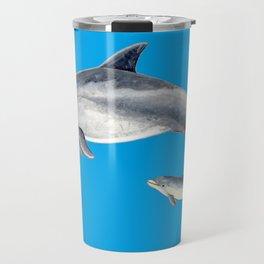 Bottlenose dolphin blue background Travel Mug