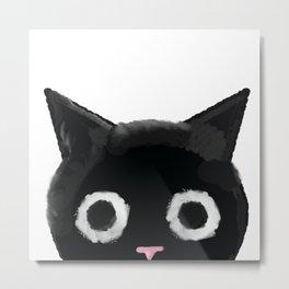 Spooked Kitty Black Creepy & Cute Cat Metal Print
