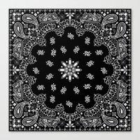 tupac Canvas Prints featuring black and white bandana by Marta Olga Klara