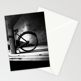 Old bicycle in a dusty attic Stationery Cards