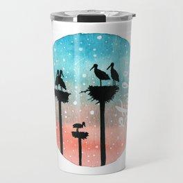 Storks Watercolor Travel Mug
